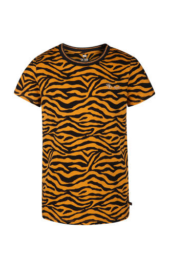 T-shirt met zebraprint oker