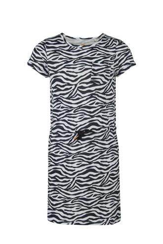 jurk met zebraprint zwart