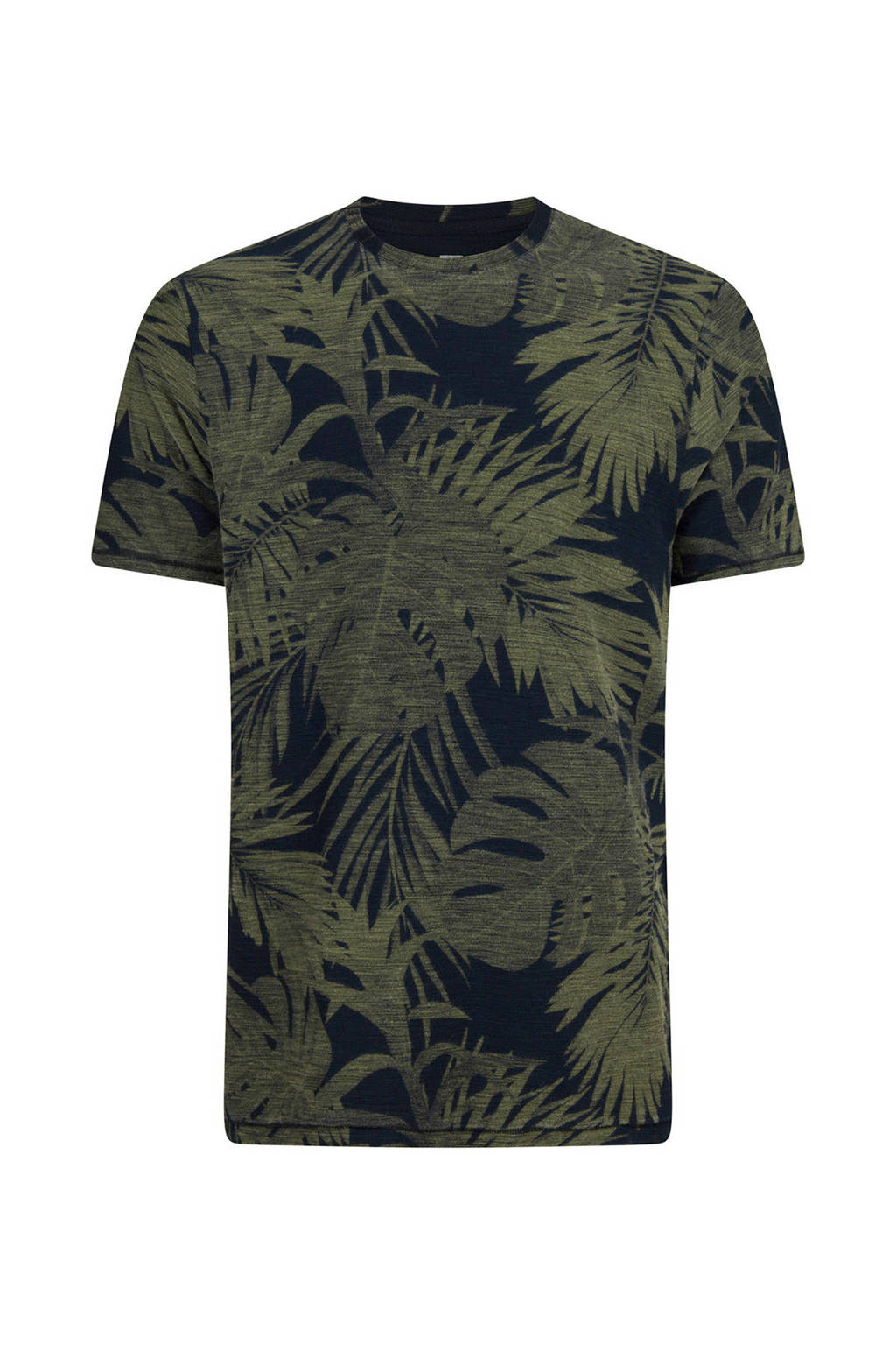 WE Fashion slim fit T-shirt met bladprint, Donkerblauw