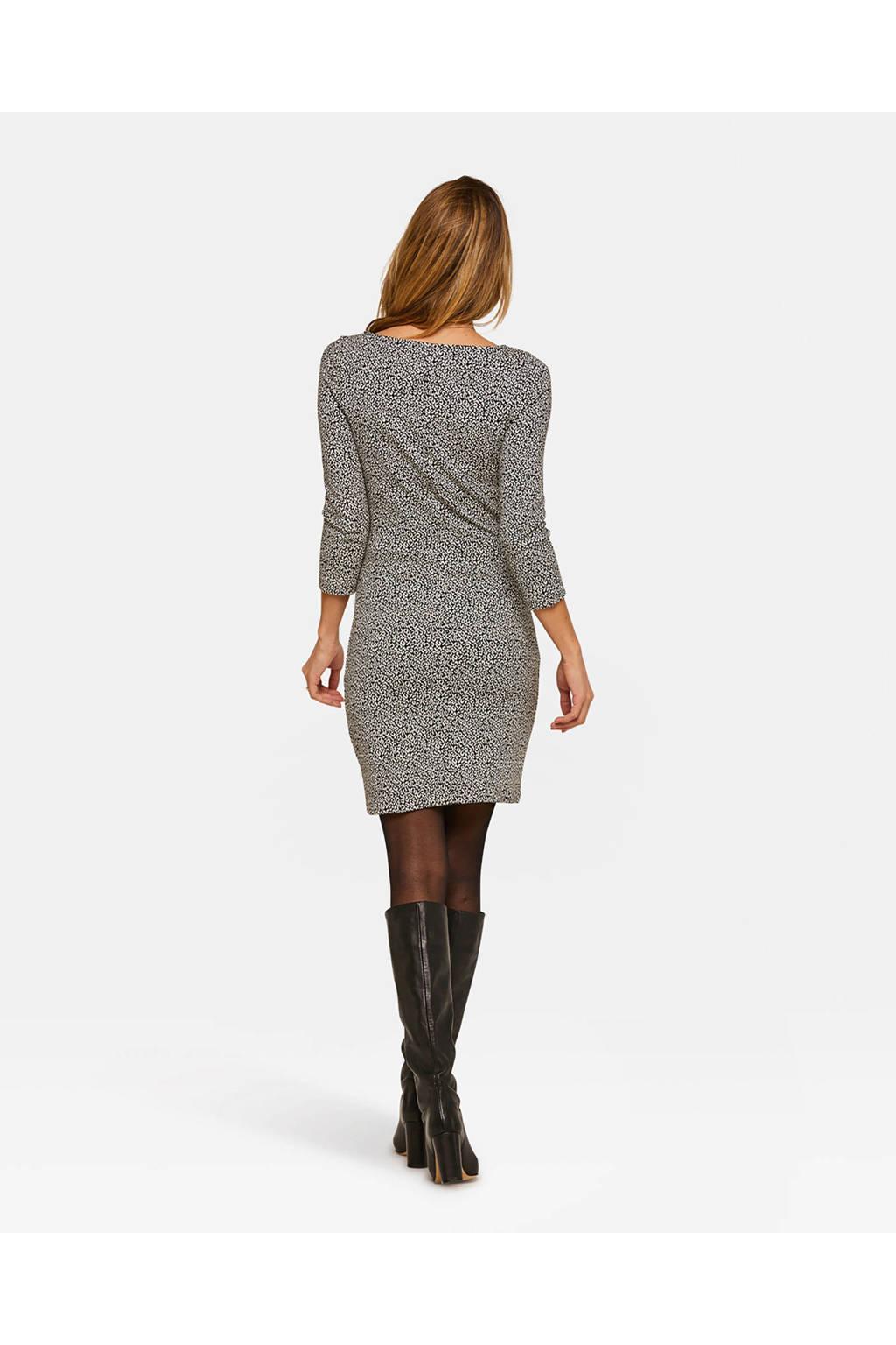 We Jurk Fashion Gewoven Met Zwart Panterprint Fijn UqOfaAU