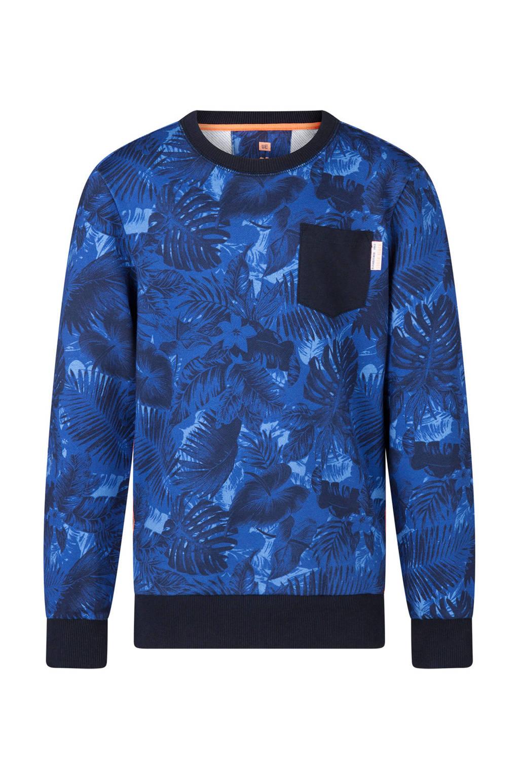WE Fashion sweater met bladeren en bloemen blauw, Blauw