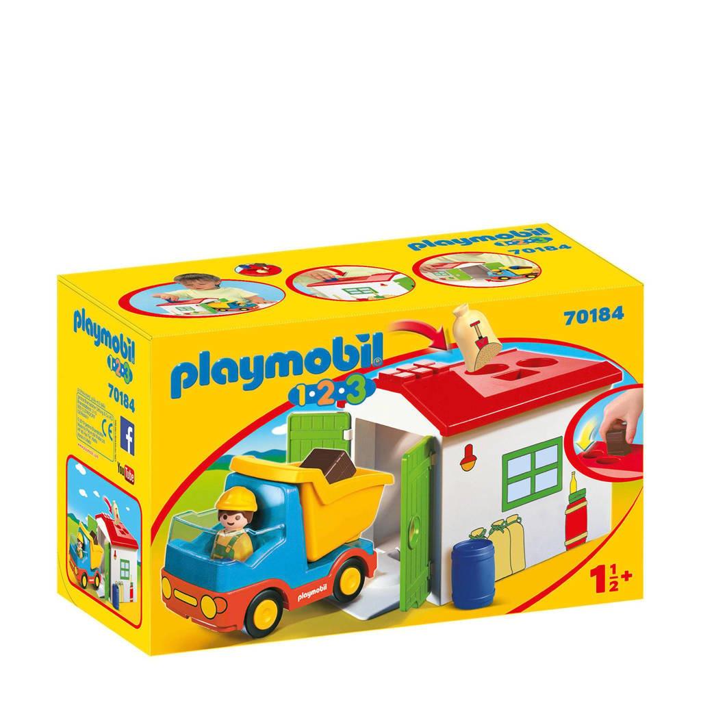 Playmobil 1-2-3  werkman met sorteer-garage