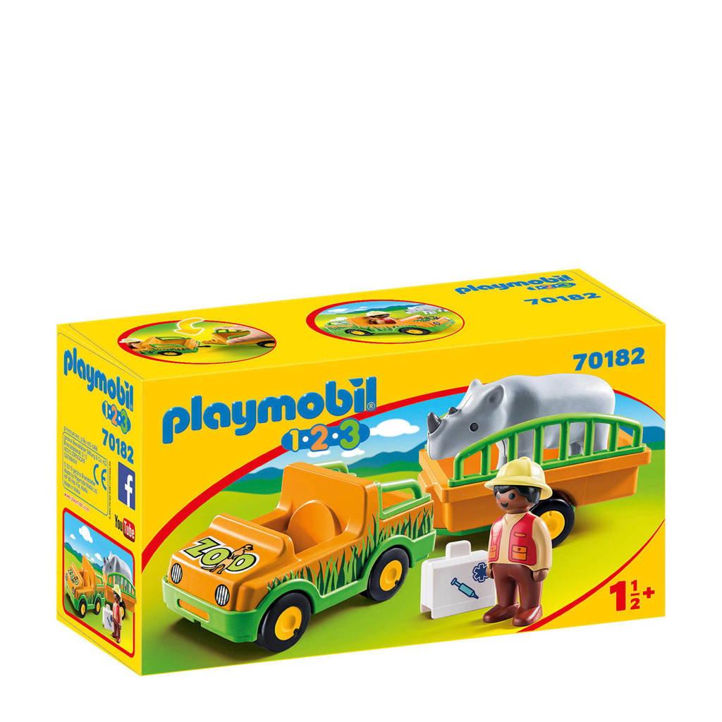 Playmobil 1-2-3  dierenverzorger met neushoorn