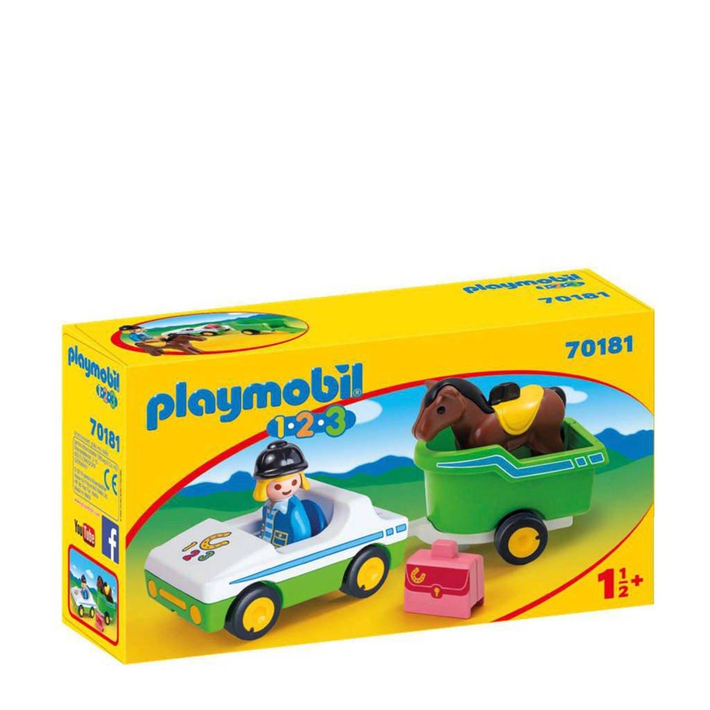 Playmobil 1-2-3 wagen met paardentrailer 70181