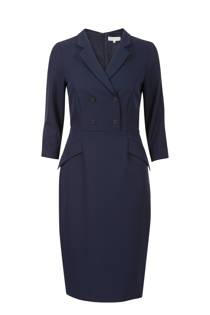 Promiss jurk met reverskraag marine
