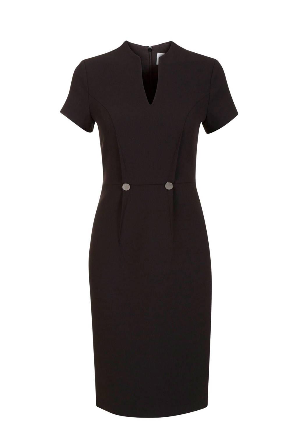 Promiss jurk met decoratieve knopen zwart, Zwart