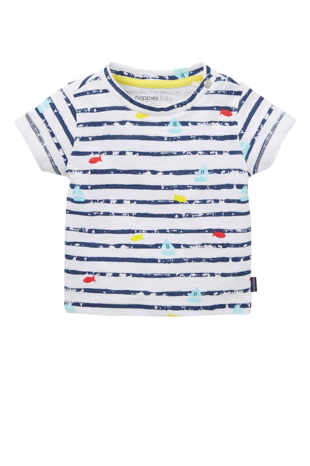 Noppies baby T-shirt met allover print blauw, Blauw/wit
