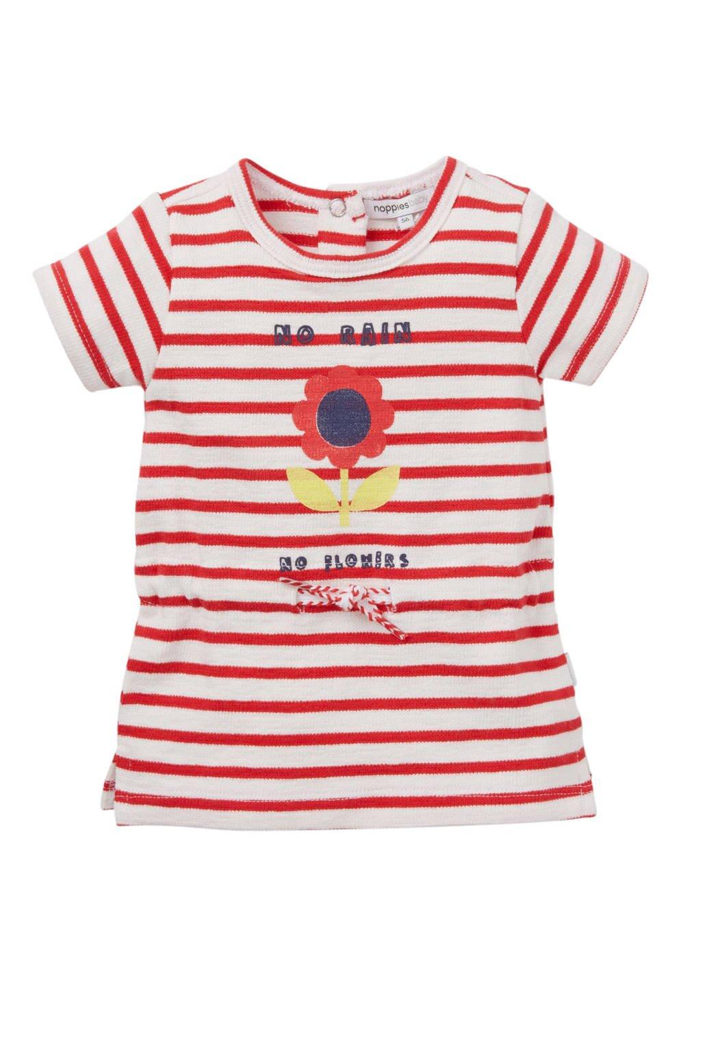 Noppies baby gestreepte jurk met print rood, Rood/wit