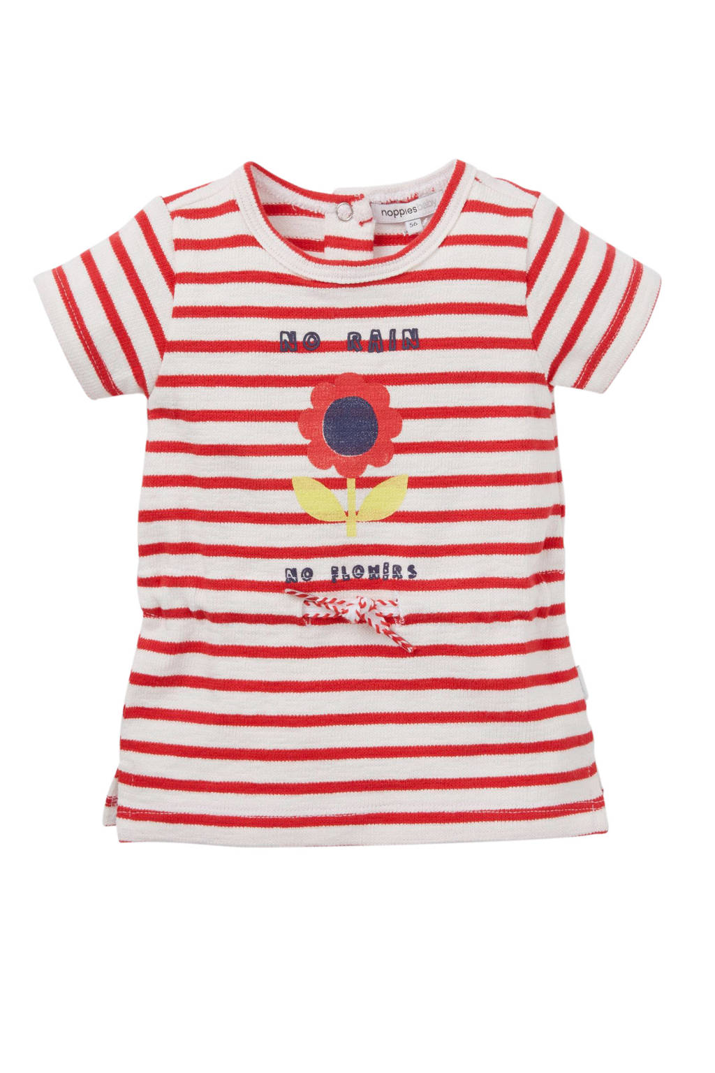 Noppies gestreepte jersey jurk rood/wit, Rood/wit