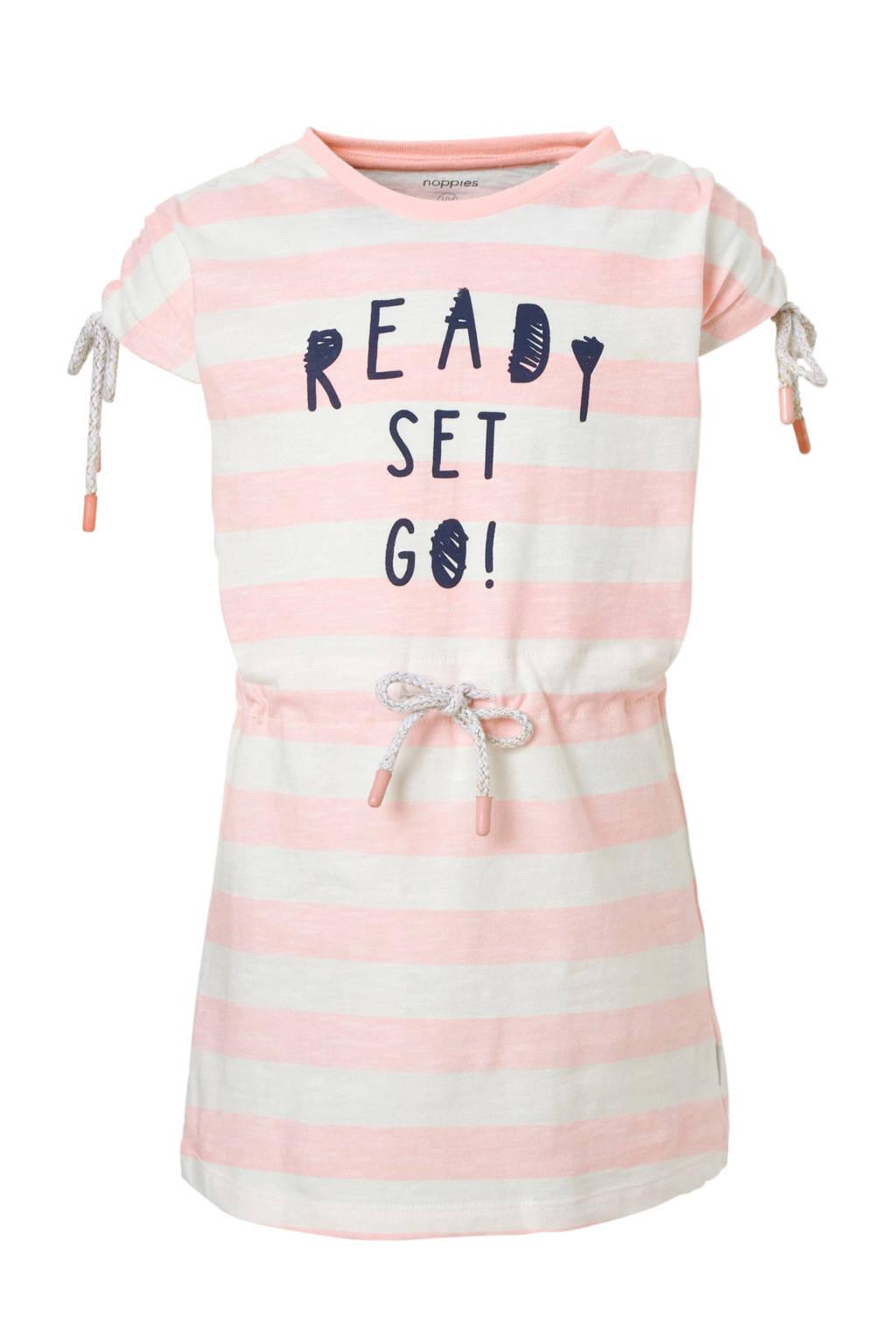 Noppies gestreepte jurk met tekst roze, Roze/wit