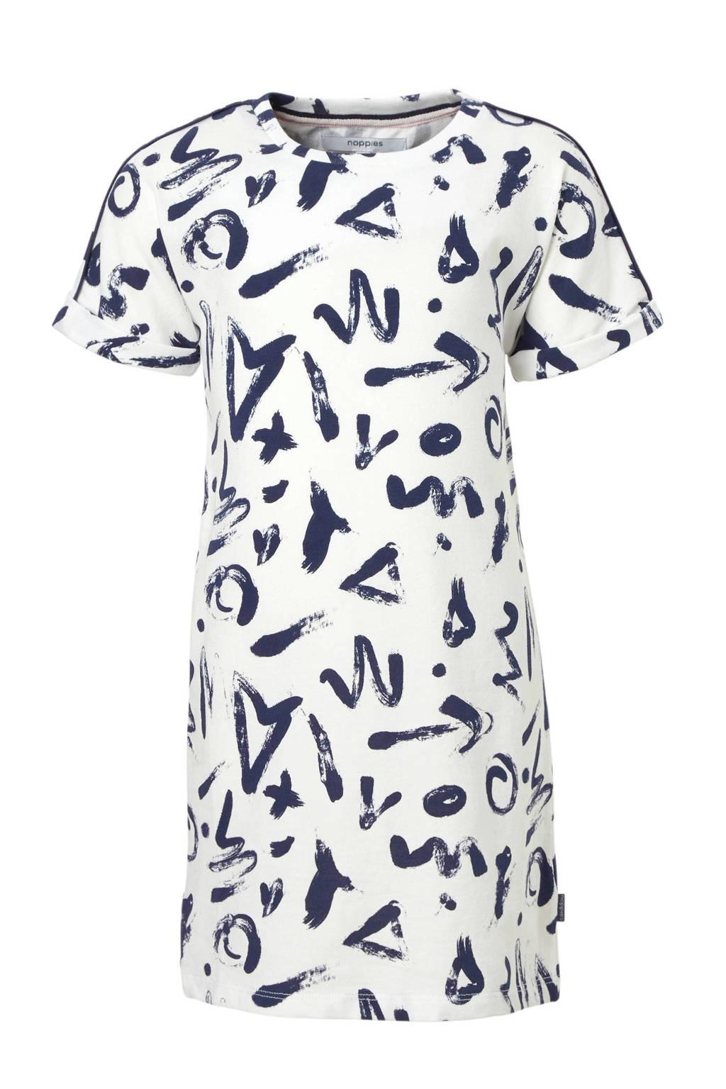 Noppies jurk met allover print, Wit/ blauw