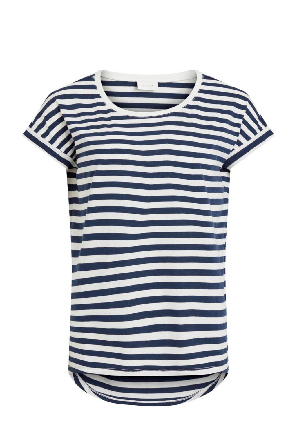 VILA gestreept T-shirt, Blauw/wit