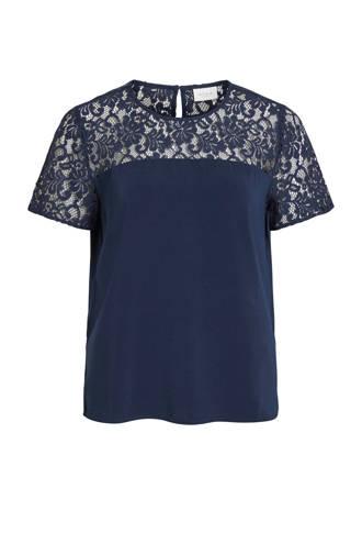 T-shirt met kant blauw