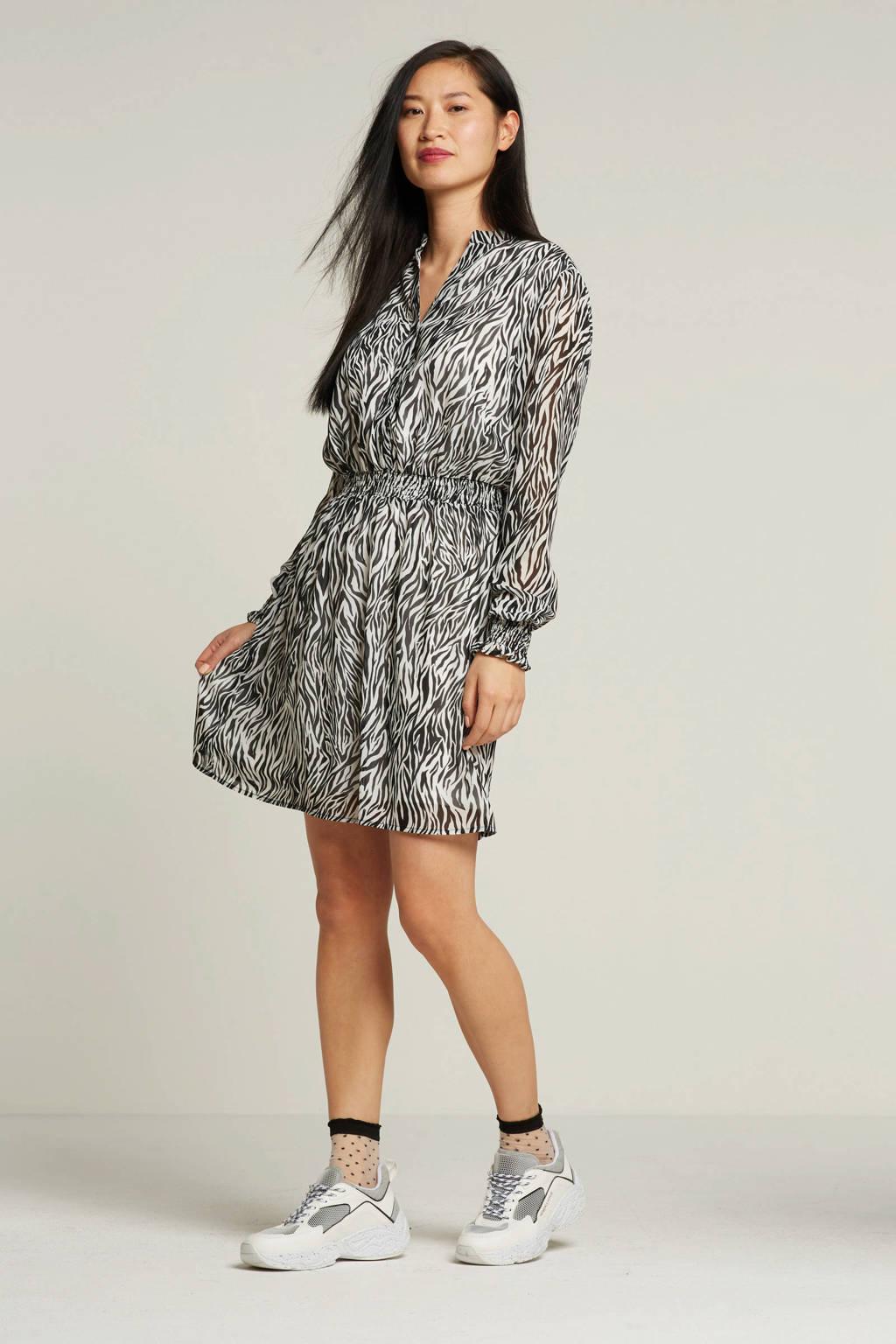 VILA jurk met zebraprint, Wit/zwart