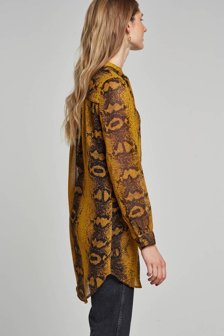 slangen Pieces blouse met print lange AqptMq4rT