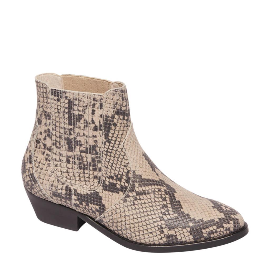 Beige Vanharen Leren 5th Met Chelsea Avenue Boots Slangenprint pqnw04