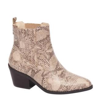 vanHaren Graceland cowboy laarzen met slangenprint beige