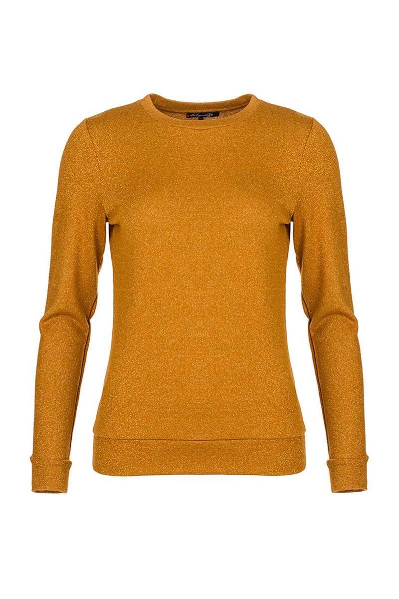 La Ligna glitter trui oker | wehkamp