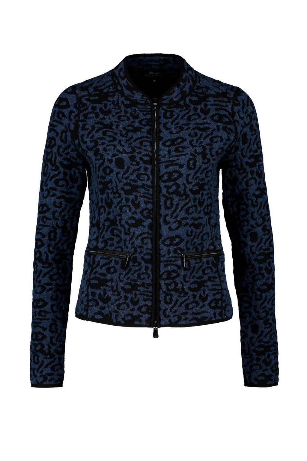 Claudia Sträter jasje met panterprint donkerblauw, Donkerblauw