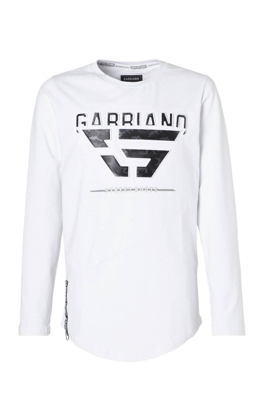 GABBIANO longsleeve met logo wit, Wit/zwart