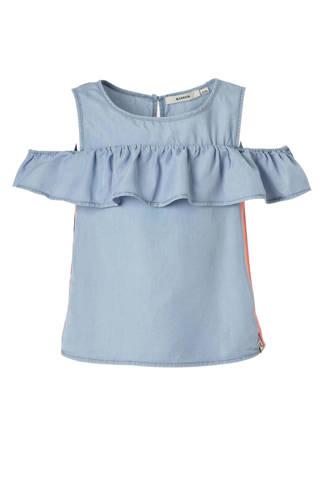 open shoulder top met contrastbies blauw