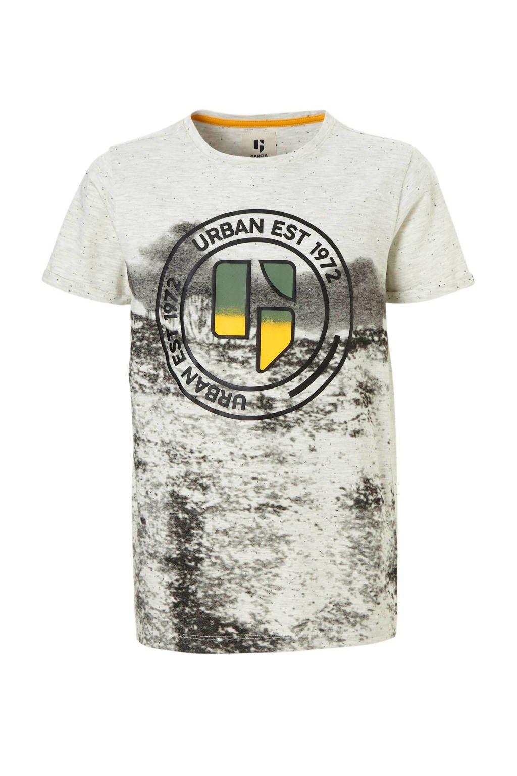 Garcia T-shirt met print lichtgrijs melange, Lichtgrijs melange/zwart