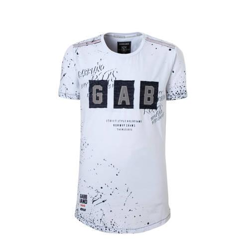 GABBIANO T-shirt met verfspatten en tekst wit kopen