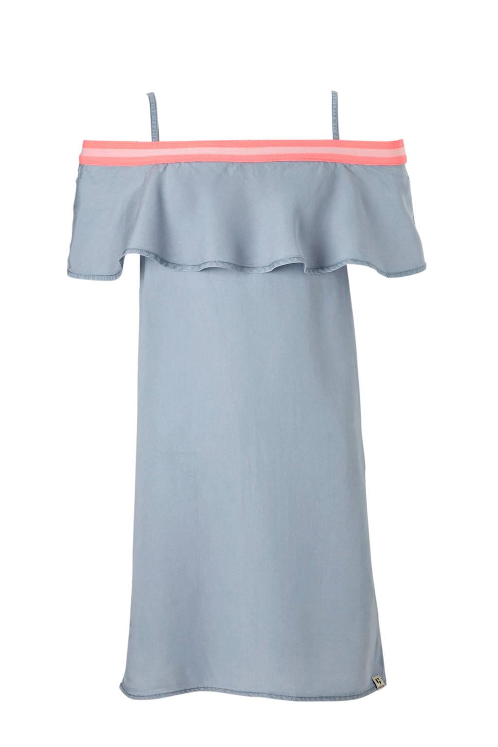 Garcia off shoulder jurk blauw, Blauw/felroze