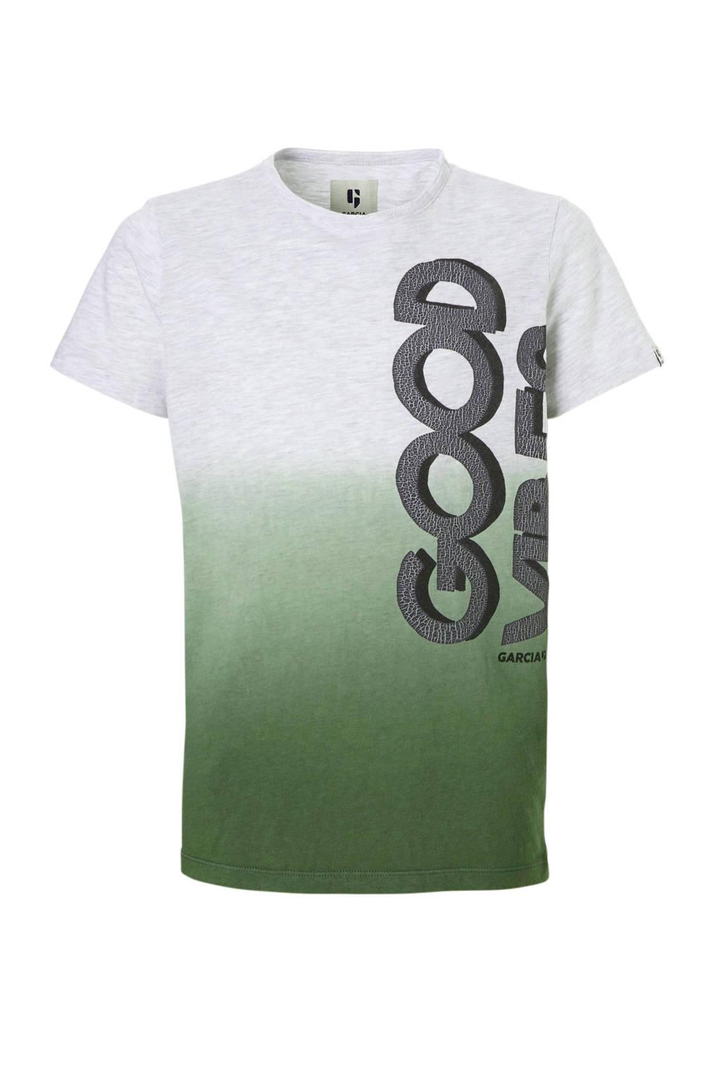 Garcia T-shirt met tekst grijs, Grijs melange/groen