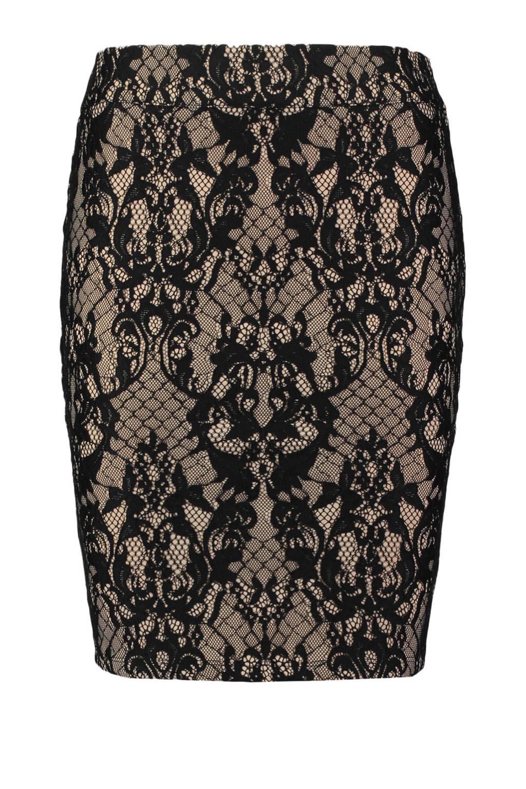 CoolCat high waist kokerrok met kantprint, Zwart