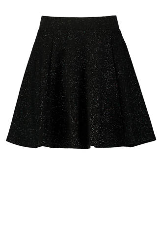 wijd uitlopende rok met glitters zwart
