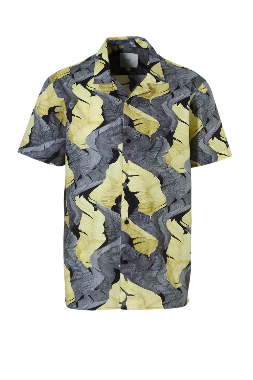 Minimum regular fit overhemd met print, Grijs/geel/zwart