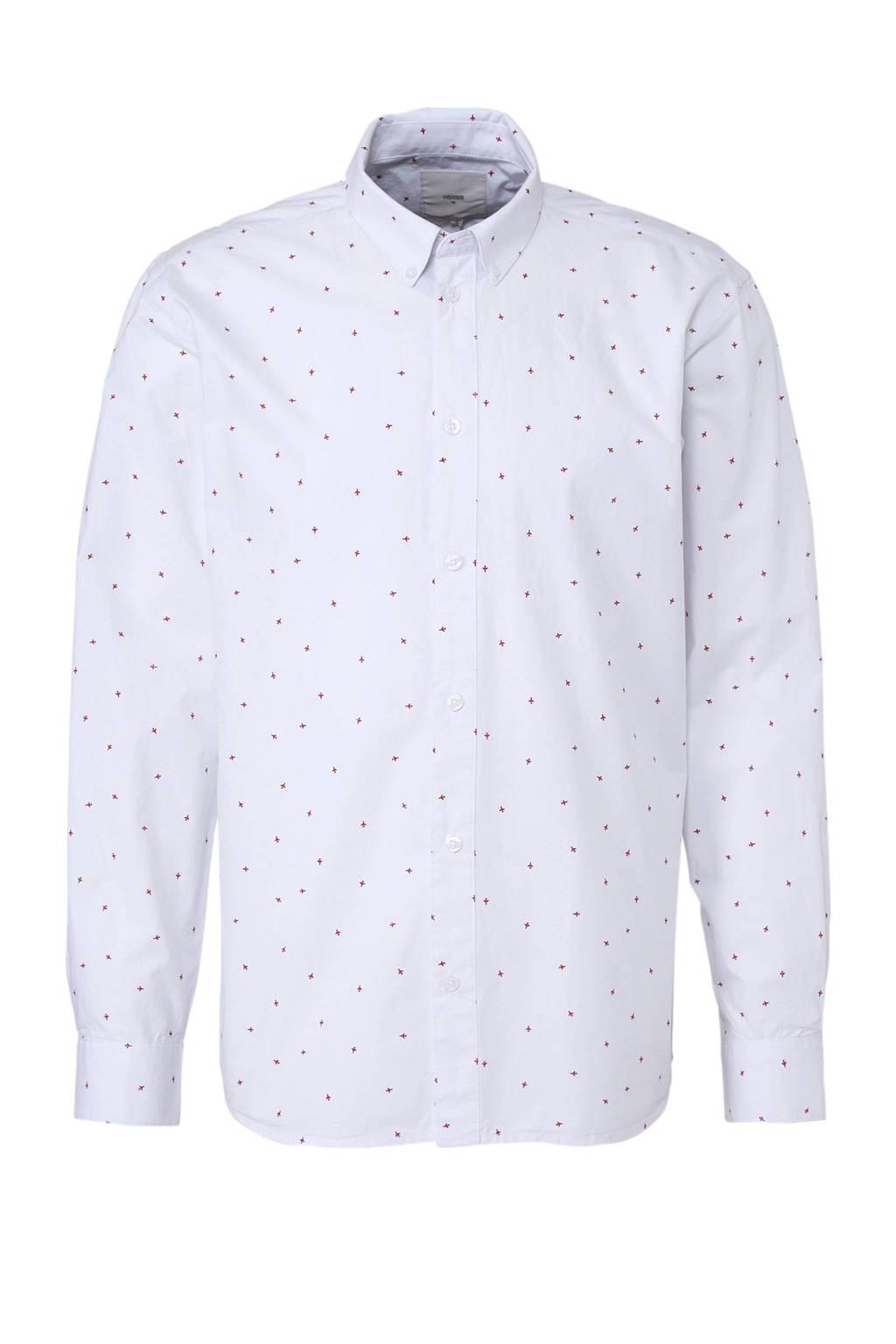 Minimum overhemd met print, Wit/rood
