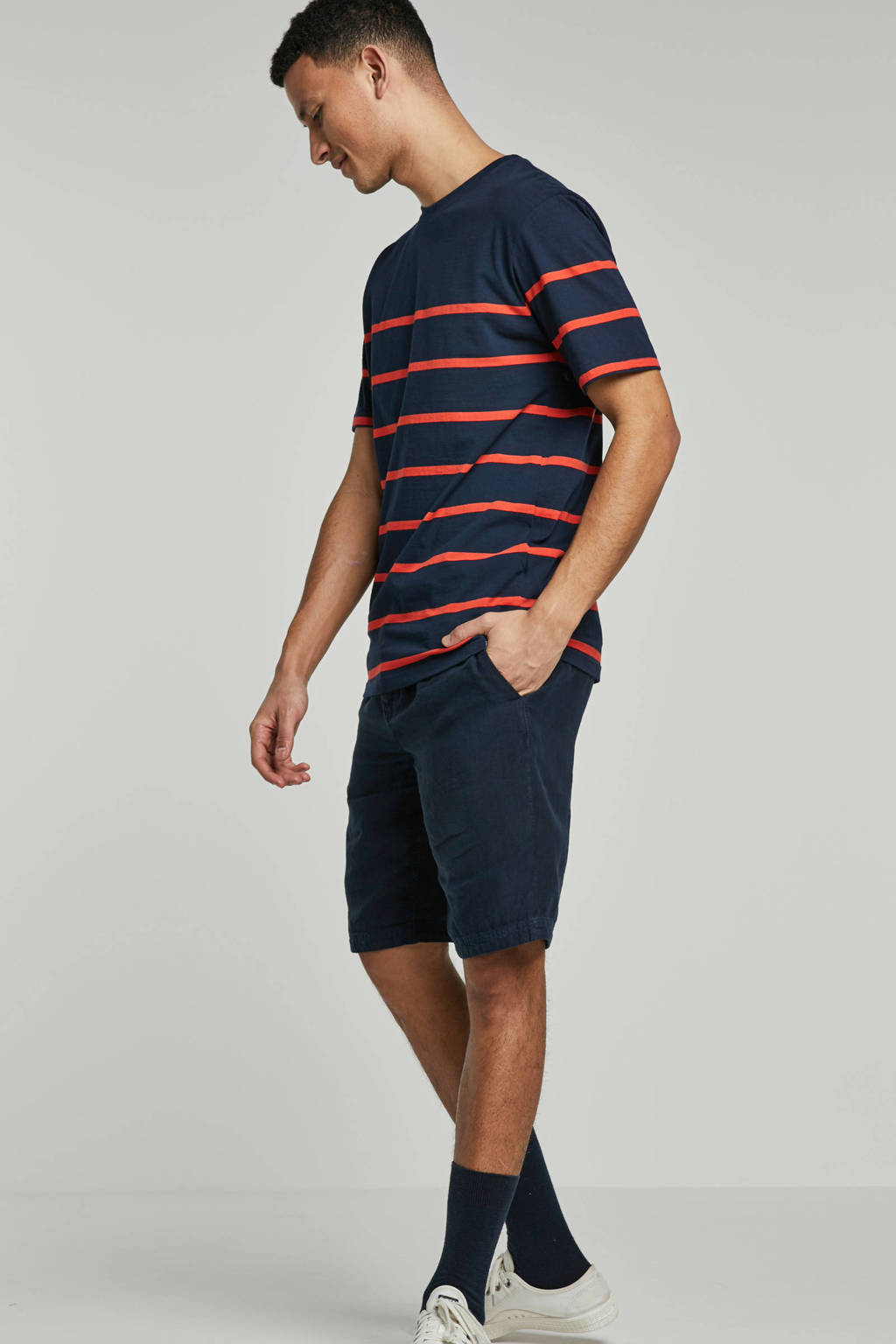 Minimum T-shirt, Donkerblauw/ rood
