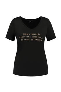 MS Mode T-shirt met print opdruk zwart