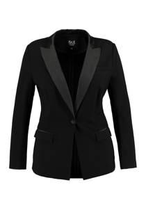 MS Mode blazer met satijnen revers zwart (dames)