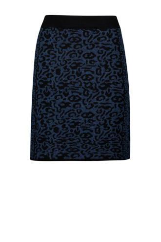 rok met panterprint donkerblauw
