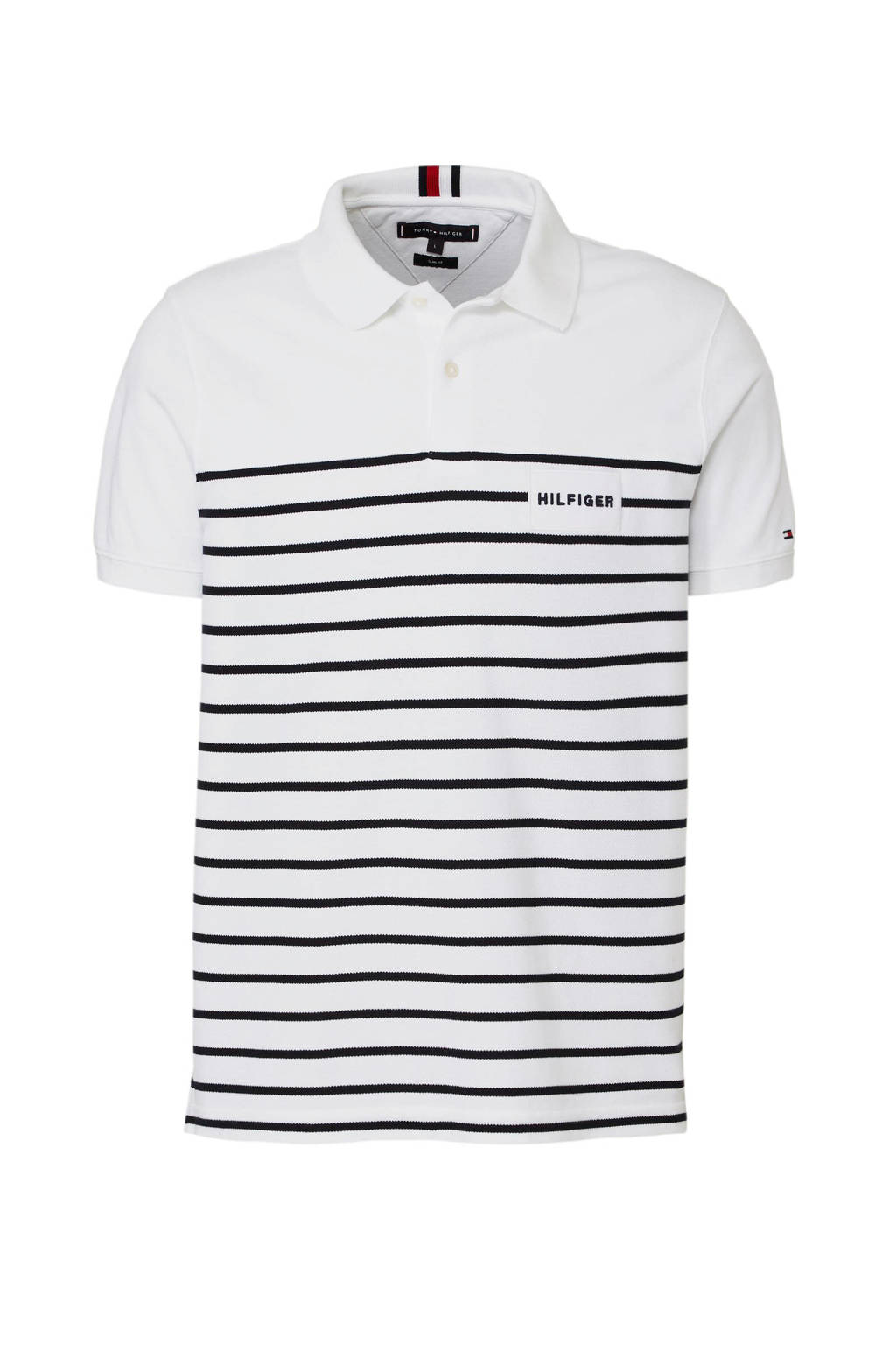 Tommy Hilfiger regular fit polo wit, Wit/marine