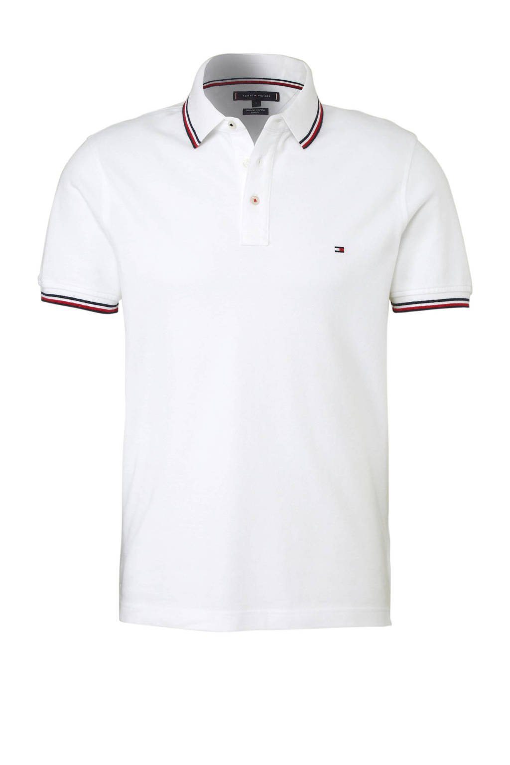 Tommy Hilfiger slim fit polo wit, Wit