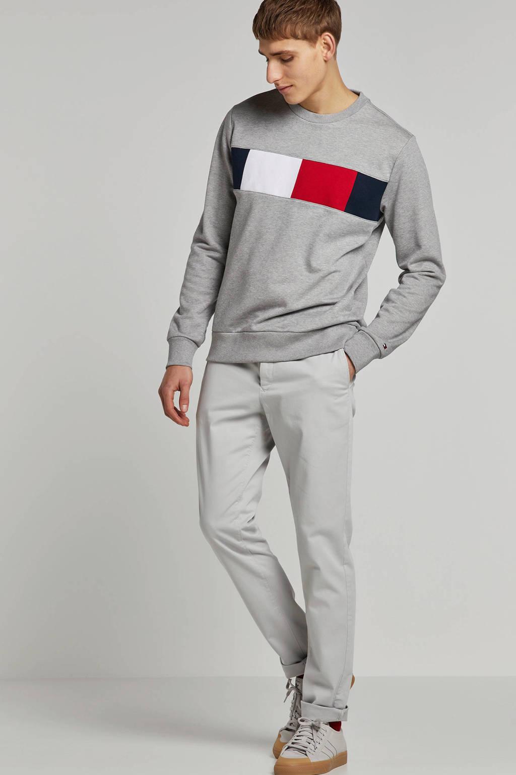 Tommy Hilfiger gemêleerde sweater met logo grijs, Grijs
