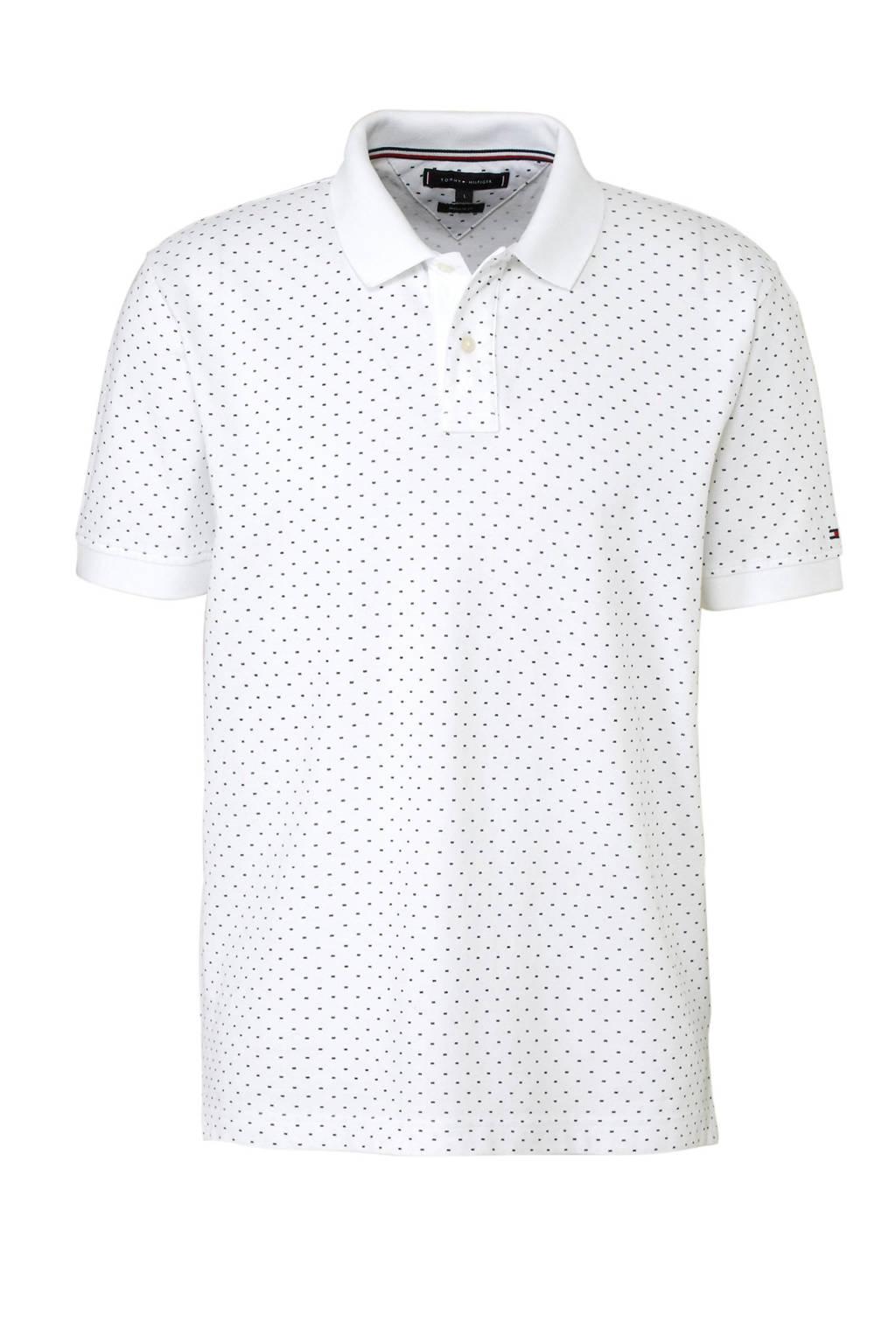 Tommy Hilfiger regular fit polo met print wit, Wit/zwart