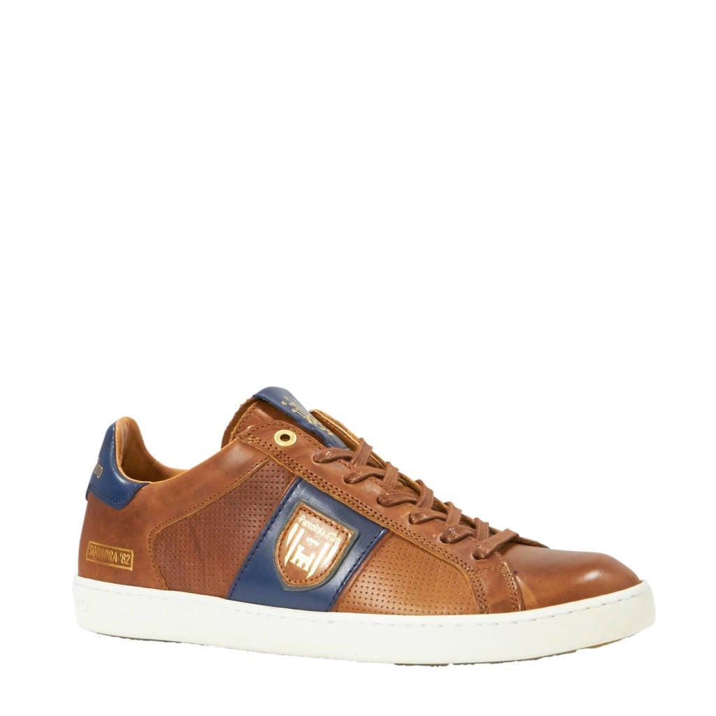 Pantofola d'Oro  Sorrento Uoma Low leren sneakers cognac, Cognac/Blauw/Goud