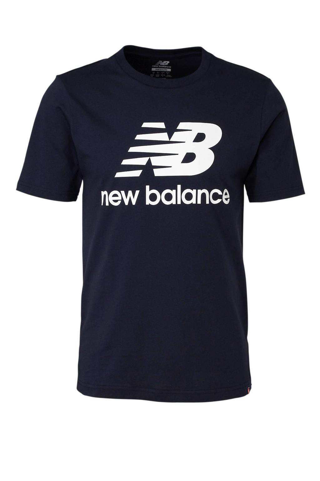 New Balance   T-shirt donkerblauw, Donkerblauw/wit