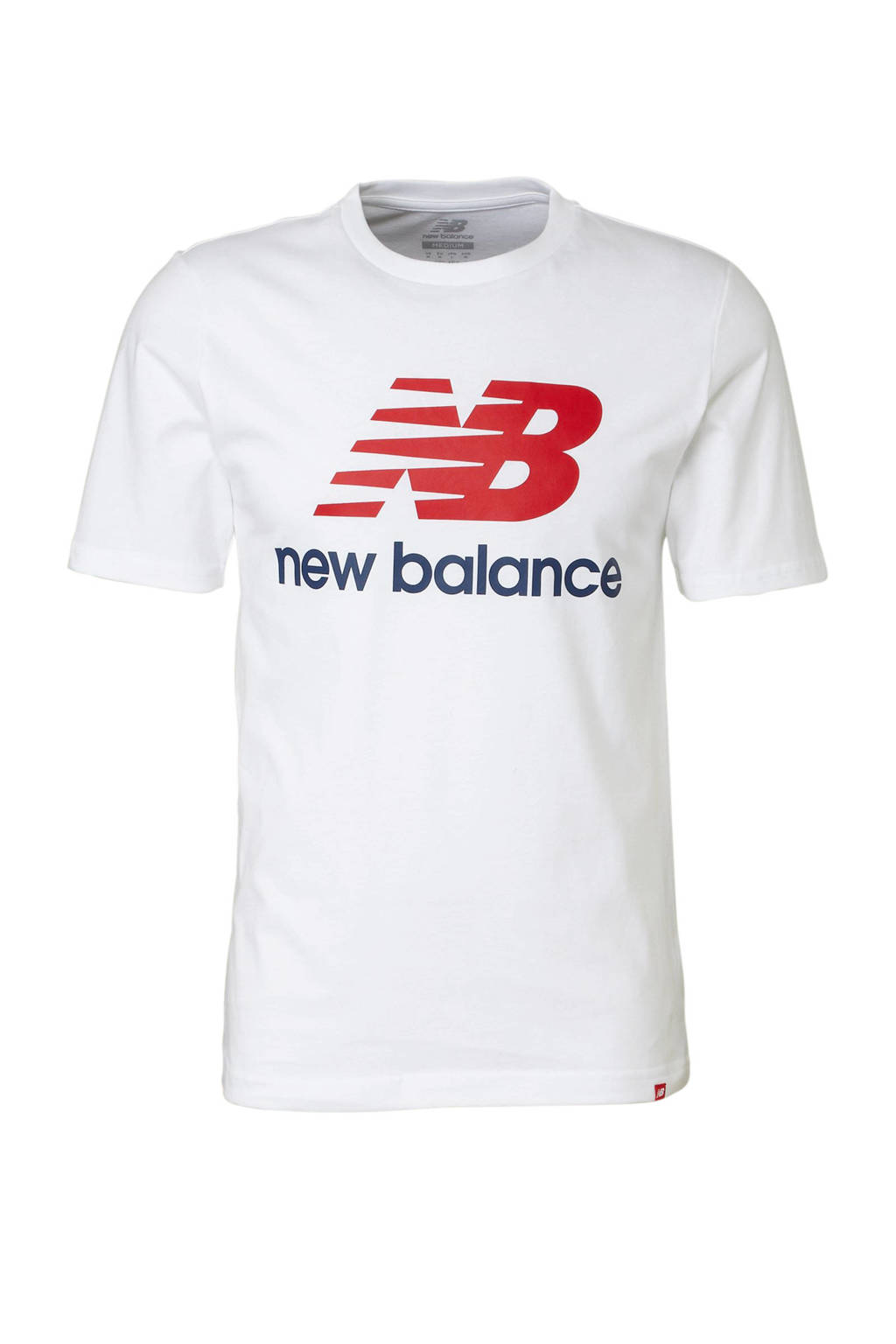 New Balance   T-shirt, Wit/rood/blauw