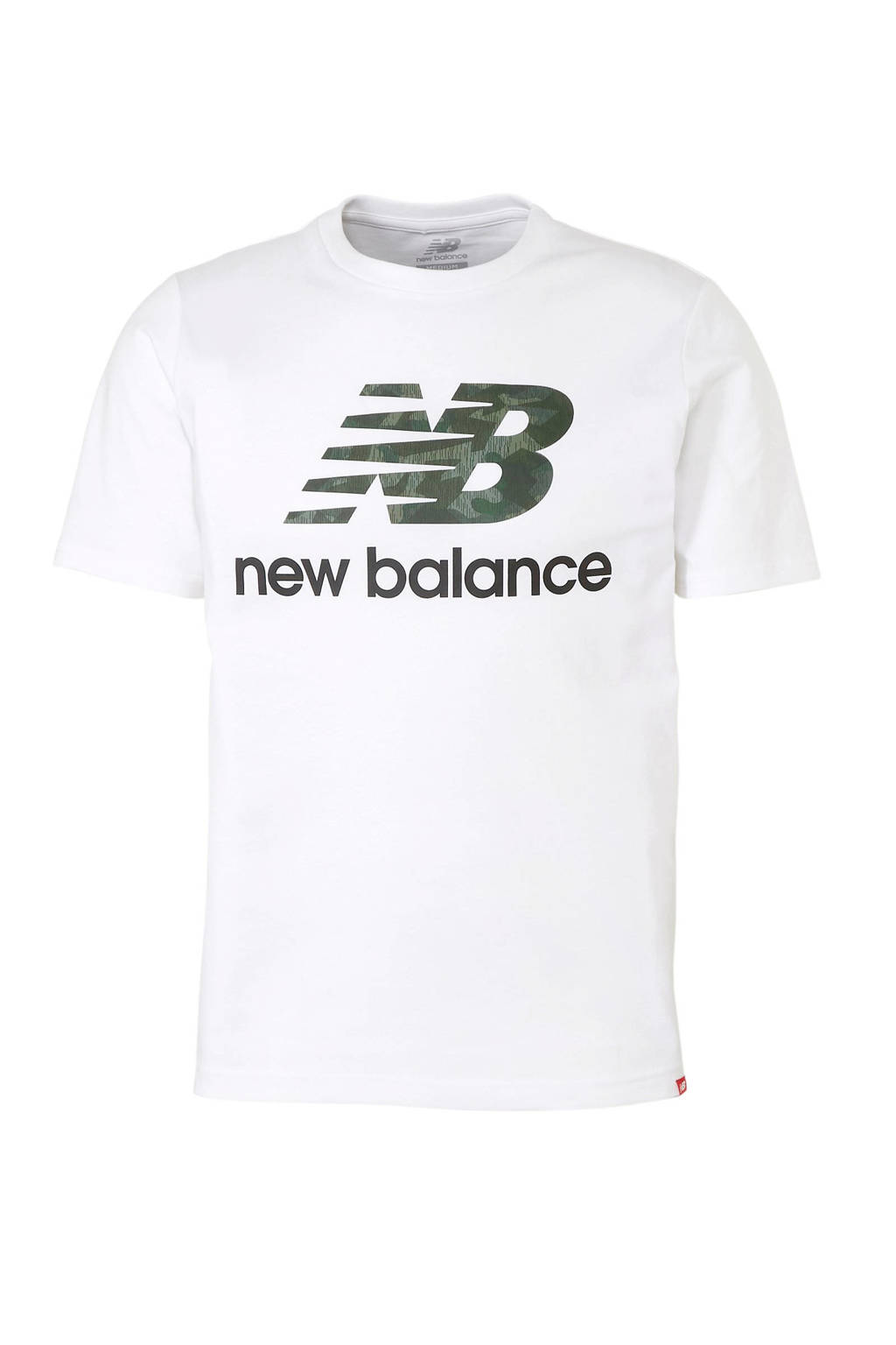 New Balance   T-shirt met printopdruk wit/groen, Wit/groen