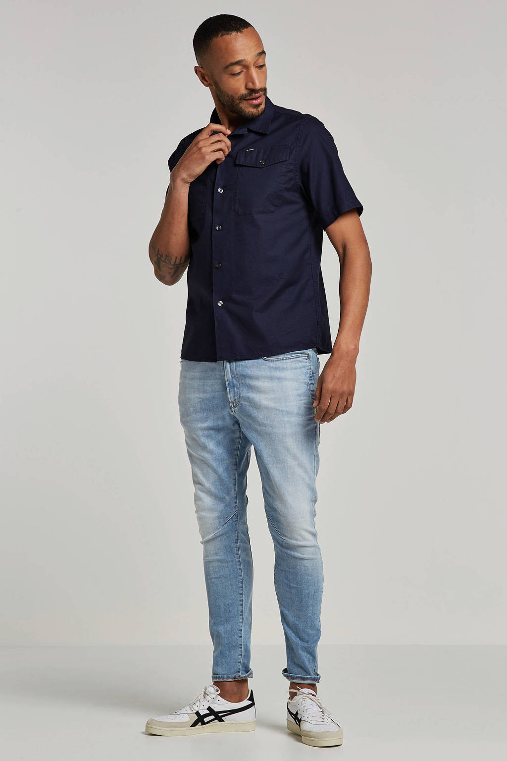G-Star RAW overhemd korte mouw Bristum, Donkerblauw