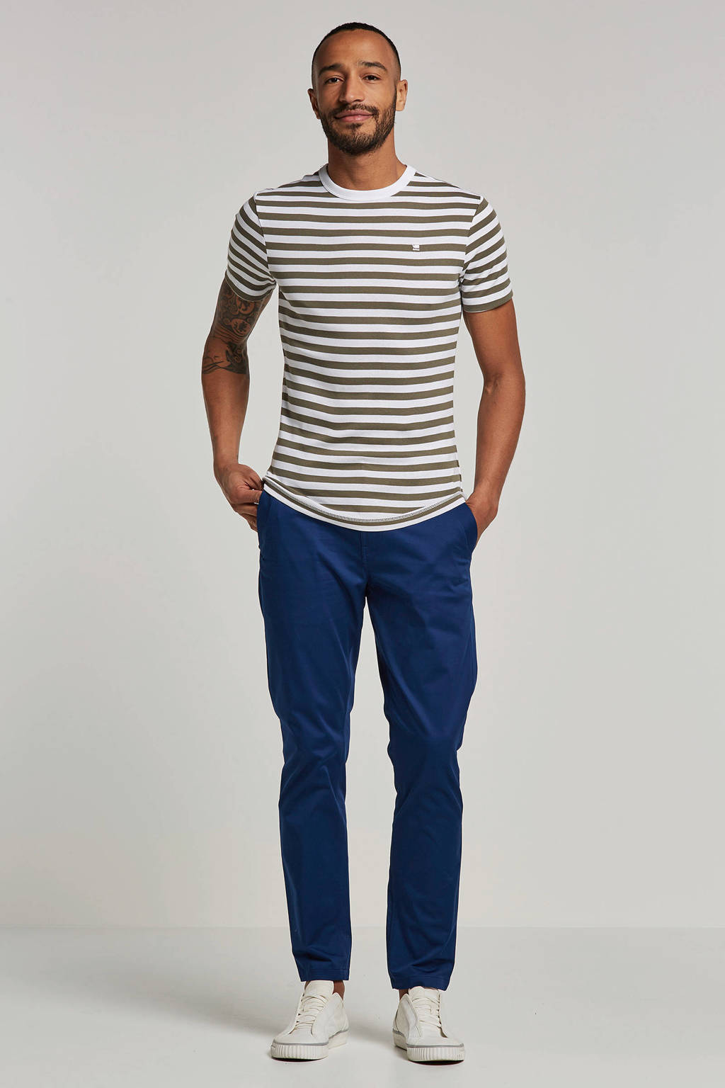 G-Star RAW T-shirt Kantano, Wit/groen