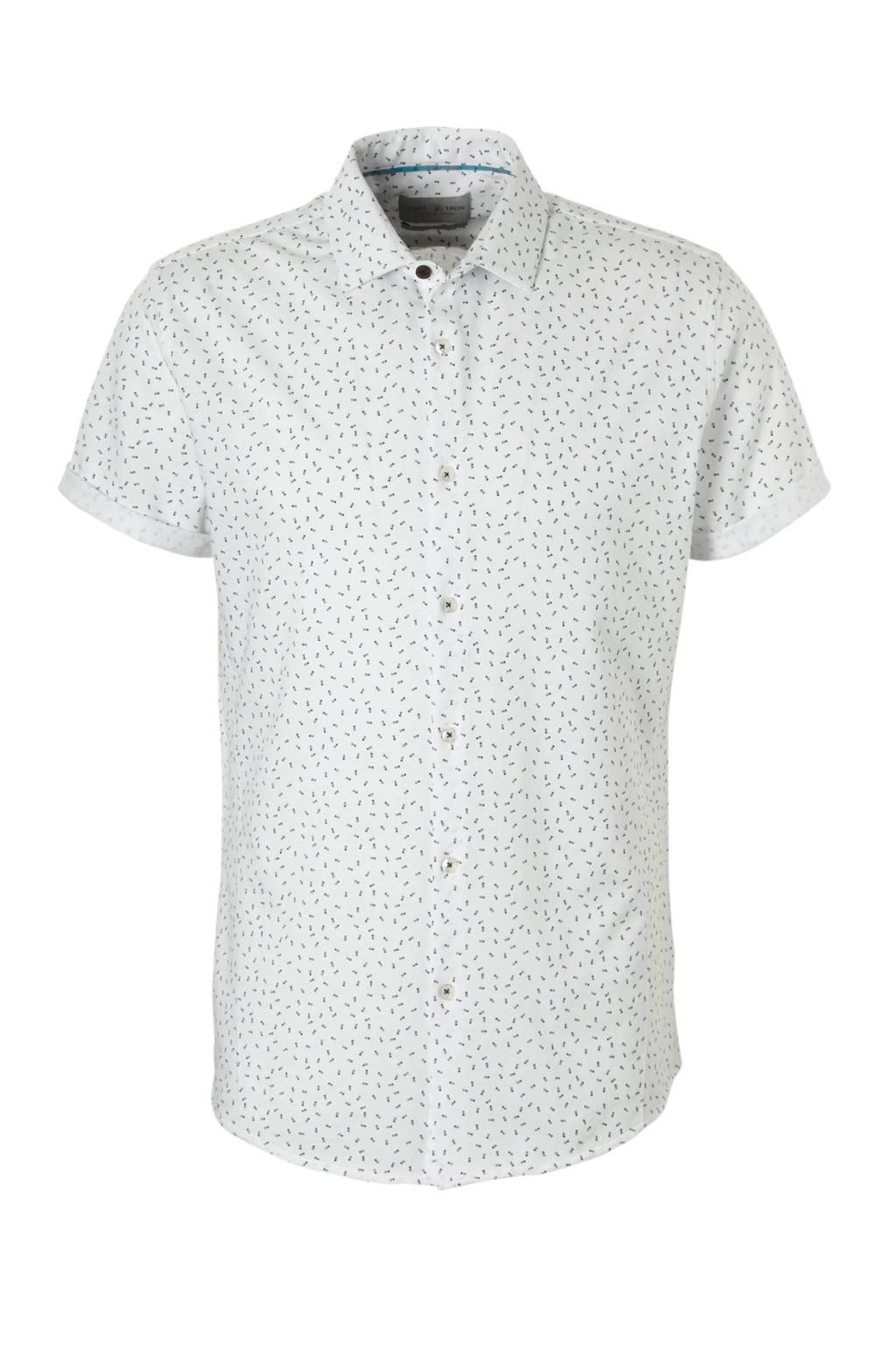 Cast Iron overhemd alloverprint wit, wit/ zwart