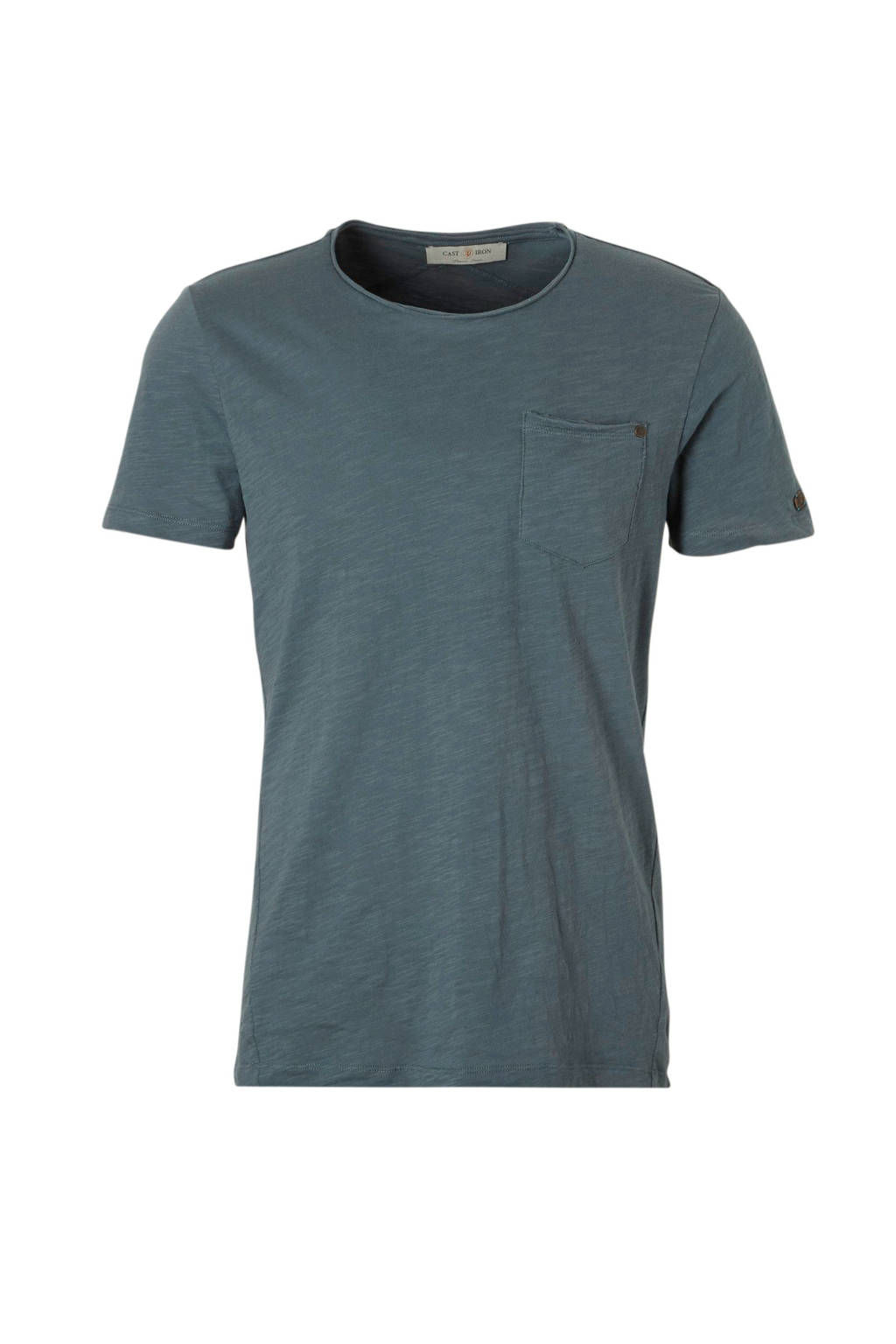 Cast Iron T-shirt met borstzakje, Petrol