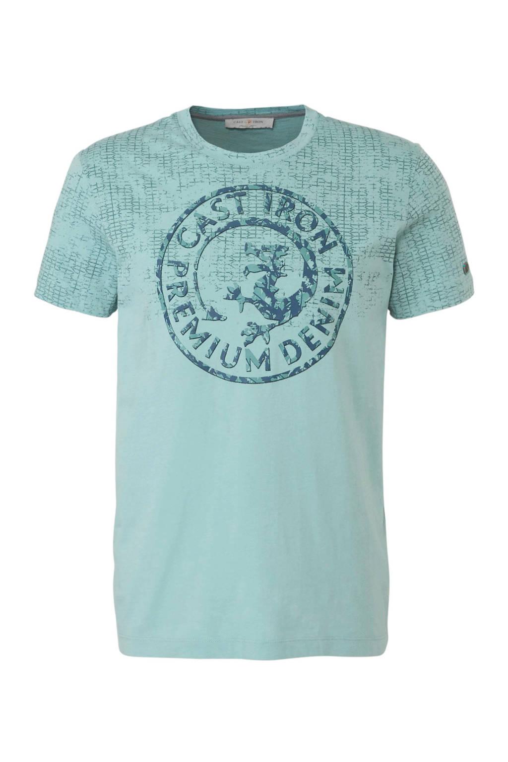 Cast Iron T-shirt met print blauw, Blauw